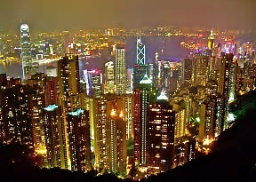 Hong Kong, skyscrapers, lights, nightlife, city,