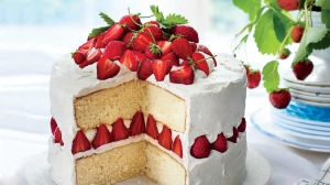 Cake, strawberry, cream