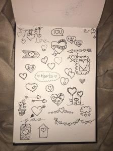 Hearts, doodles, pen and ink, art